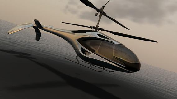 Modelo 3D de helicópero visualizado no Showcase