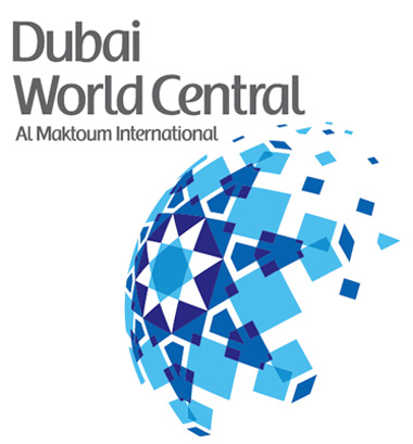 Logo do Dubai World Central no aeroposto de Dubai