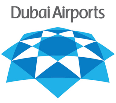 Marca principal do Dubai Airports, que traz vários logos