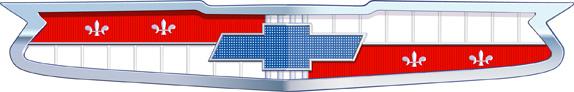 A gravata azul dentro de um escudo, utilizado no Chevrolet Bel Air
