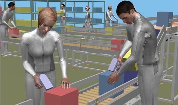 Fábrica criada no Delmia, que permite simular processos de produção