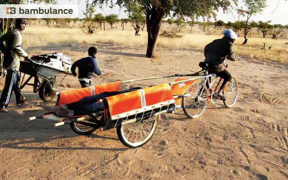 Design humanitário representado na ambulância de bambu, na África