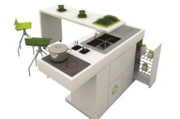 Linha de móveis composta por bancada, com pia com torneira; fogão elétrico e armário