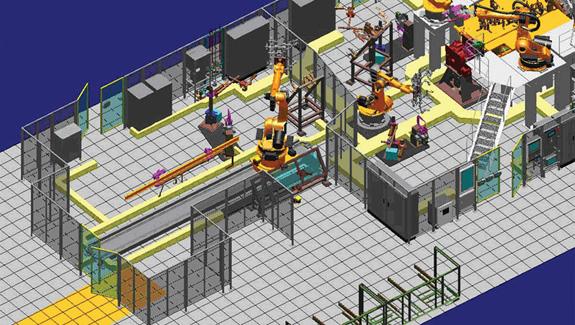 O Tecnomatix auxilia também no projeto e simulação de linhas de produção