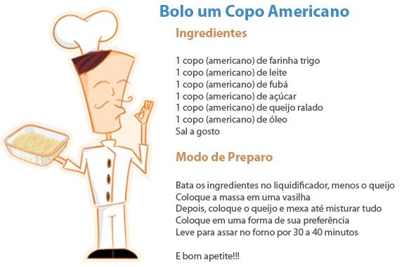Ilustração com receita publicada no site comemorativo do Copo Americano