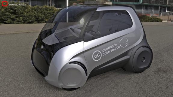 Fiat Mio, tem as rodas cobertas por grandes calotas para melhoriar a aerodinâmica
