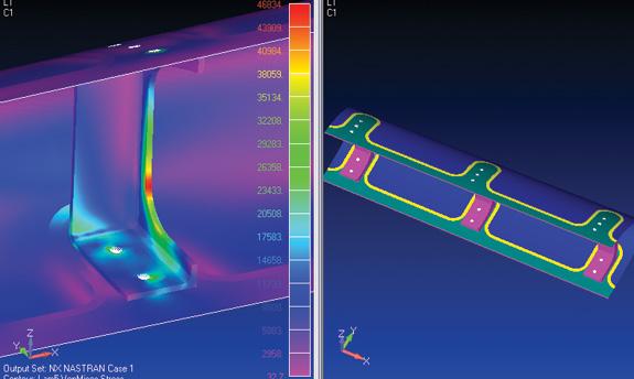 Femap permite aplicar cargas e restrições ao material abrangendo toda cobertura de design