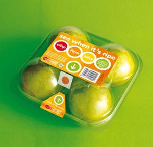 Embalagem avisa que fruta está madura, ideal p/ frutas que não mudam de cor ao amadurecer