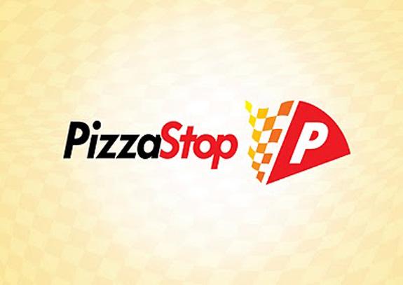 Marca da pizzaria traz elementos da bandeira quadriculada das corridas de automóveis