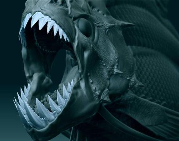 Criatura concebida por Page para o filme Piranha 3-D, um remake do clássico de Joe Dante de 1978