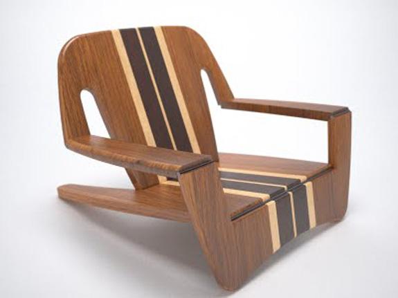 Cadeira Kaô, concebida pela Quadrante, se transforma em prancha de bodyboard