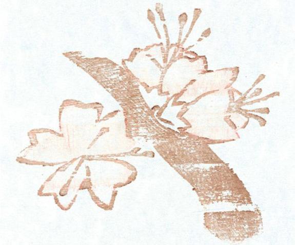 "Simonia Fukue Nakagawa ficou em terceiro lugar com a gravura ""Sakura-rosa"""