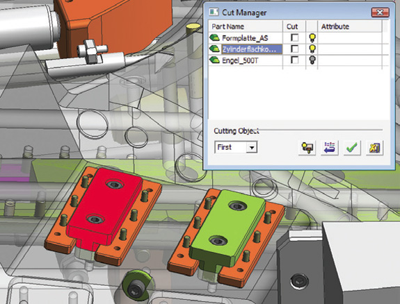 Cut Manager Filter alerta usuário sobre colisão entre um novo parafuso  e um defletor de refrigeração (em vermelho)