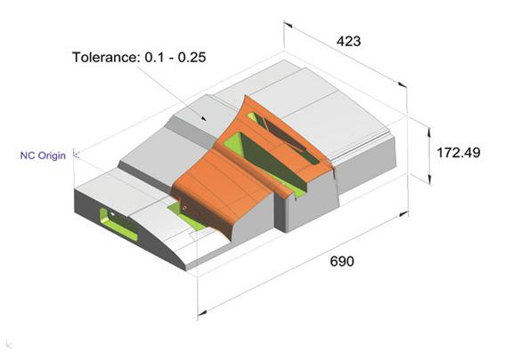 PMI é aplicado na programação CNC, onde foi definida a origem da máquina e dimensões, enquanto a rugosidade da
