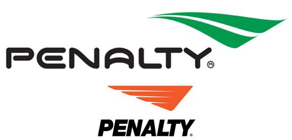 Ao alto a nova marca da Penalty, criada pela Oz, e acima a marca anterior que estava no mercado