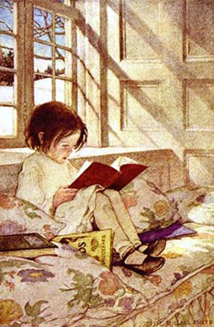 A capa do livro de Jessie Willcox Smith mostra que a leitura deve começar na infância