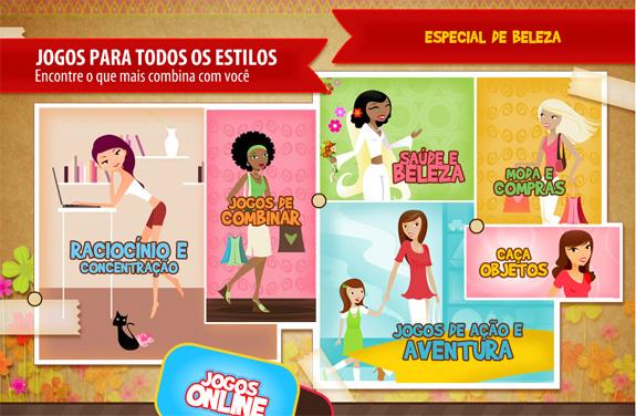 Menu de games on line da Atrativa, subsidiária da Real Games na América Latina