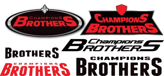 Primeiros esboços da marca tínhamos a orientação de seguir com o nome Champions Brothers