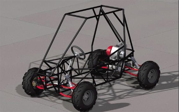 Carro de competição concebido no CAD Solid Edge, da Siemens PLM, que é baseado no Parasolid