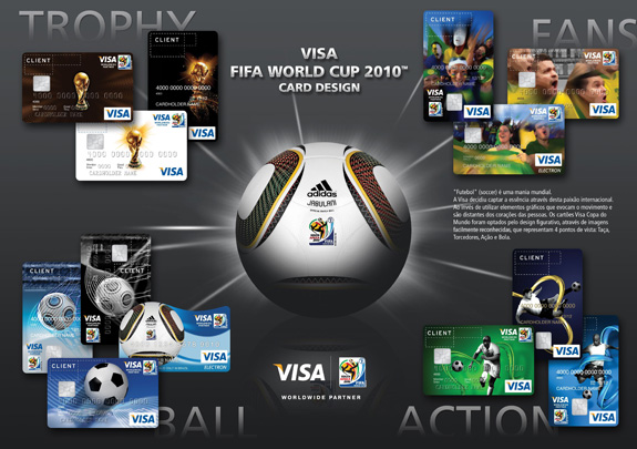 Cartões comemorativos da Copa de 2010 criados pela Cauduro Associados