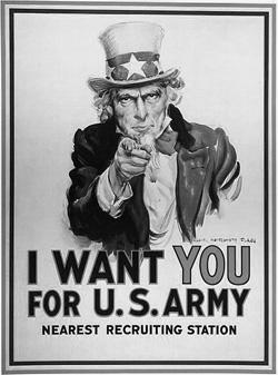 Tio Sam, que personifica os EUA ajudou a convocar soldados para a I Guerra Mundial