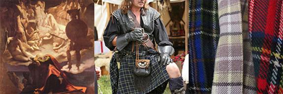 Da esq. p/dir.: Ilustração do poema Ossian, kilt e tartan, invenções escocesas