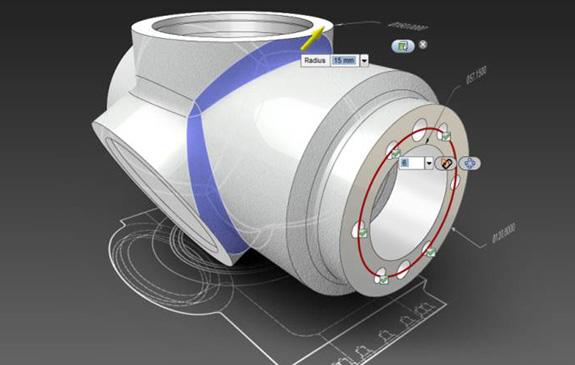 Modelagem no Inventor Fusion, que aumenta a interoperabilidade do Inventor