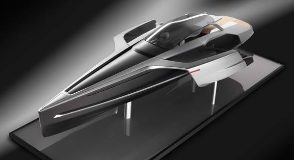 O barco principal é alimentado por dois leves e eficientes motores TDI da Audi a diesel e os jet skis a eletricidade