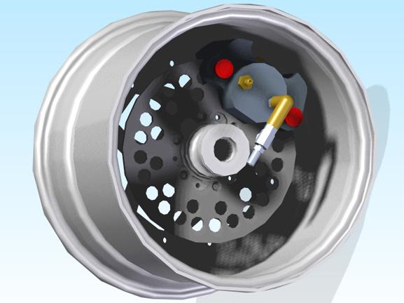 Conjunto de roda do carro SEA desenhado no Solid Edge, que é usado na USP São Carlos há 8 anos