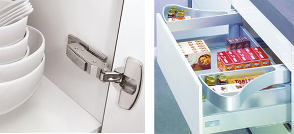 Dobradiça para junção de vidros e organizador de gavetas criados no solidWorks estão na biblioteca do Promob