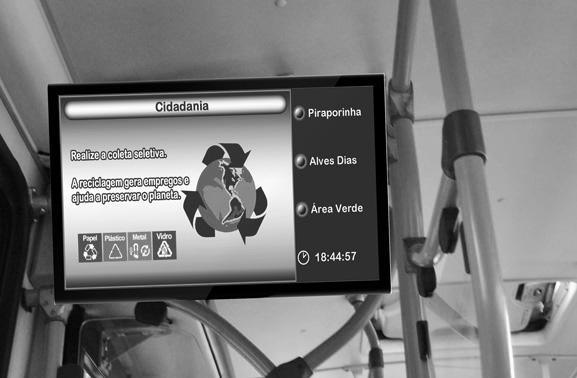 Sistema emite aviso sonoro e visual informando próxima parada e outros dados aos passageiros