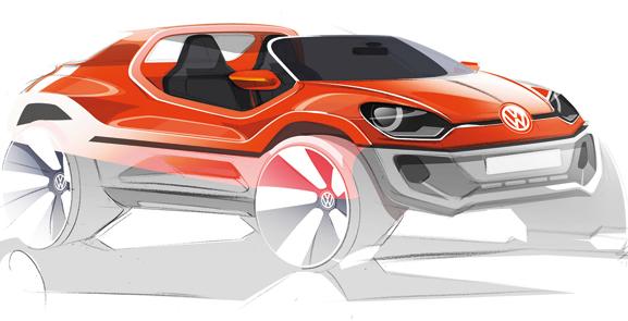 Desde os primeiros esboços o carro conceito, up! buggy, já mostrava a sensação de liberdade
