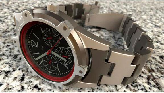 Relógio modelado no CAD Solidworks e rederizado no SW Photoview 360 por Rob Rodriguez