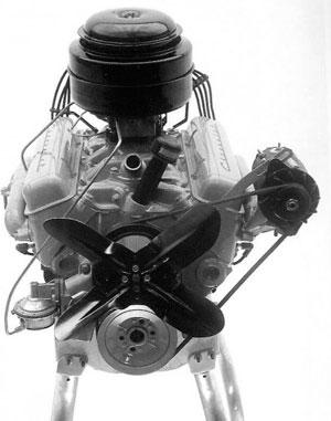 O primeiro V8 Chevrolet small block, lançado 1955, tornou a marca mundialmente reconhecida