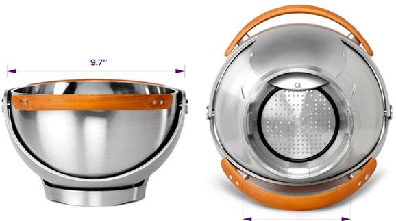 Tigela que pode ser usada para escorrer a servir massas e saladas comercializada pela Quriky
