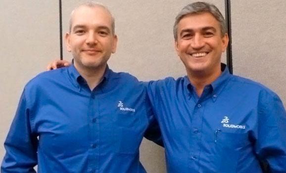 Alfred Saad (dir.) e Oscar Siqueira comemoram bons resultados na SolidWorks no Brasil e AL