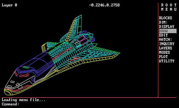 Projeto da Space Shuttle em arquivo DWG concebido no AutoCAD 2.18 em 1985