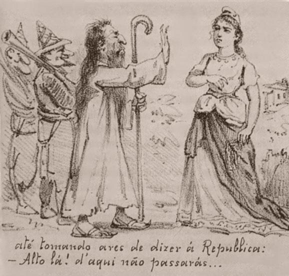 """Caricatura na Revista Ilustrada, retrata Conselheiro, com bufões tentando """"barrar"""" a República"""