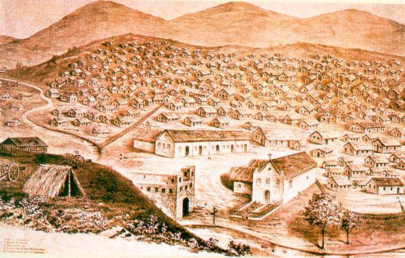 Pintura retrata Canudos/Monte Bello antes de ser destruida pelas forças do governo republicano