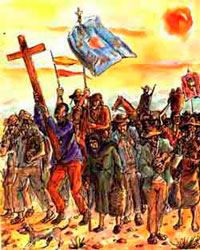 Pintura de Tri?poli Gaudade retrata Canudos marchando para a Guerra