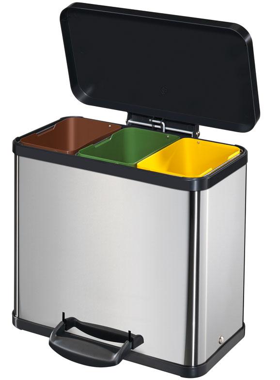 Trento Öko oferece três compartimentos para separação de materiais, permitindo ao usuário separar seu lixo