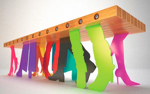 Banco Peoble combina madeira e aço colorido criando em formas irreverentes e inovadoras