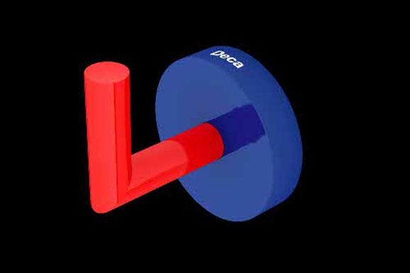 Seguindo tendências a equipe de designers aplicou as cores vermelha e o azul nas torneiras, chuveiros, cabides e papeleiras