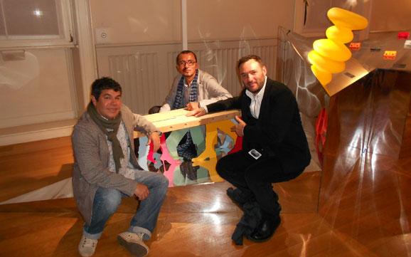 Da esq. p/direira Júnior Ramos, Marcelo Figueiredo e Marcelo Rosembaum, na Mostra Brazil SA