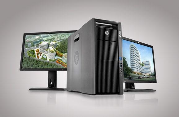 A workstation HP Z820 suporta processadores Intel Xeon, com até 16 núcleos e até oito monitores