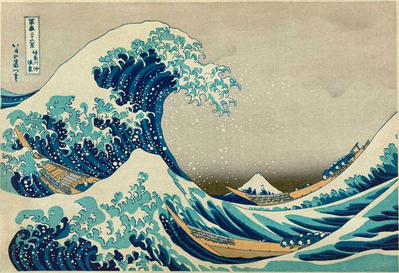 Xilografia a Grande Onda de Kanagawa Hokusai, especialista em ukiyo-e, publicada em 1830