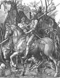 Gravura em metal de Dürer: A Morte, o Cavaleiro e o Diabo