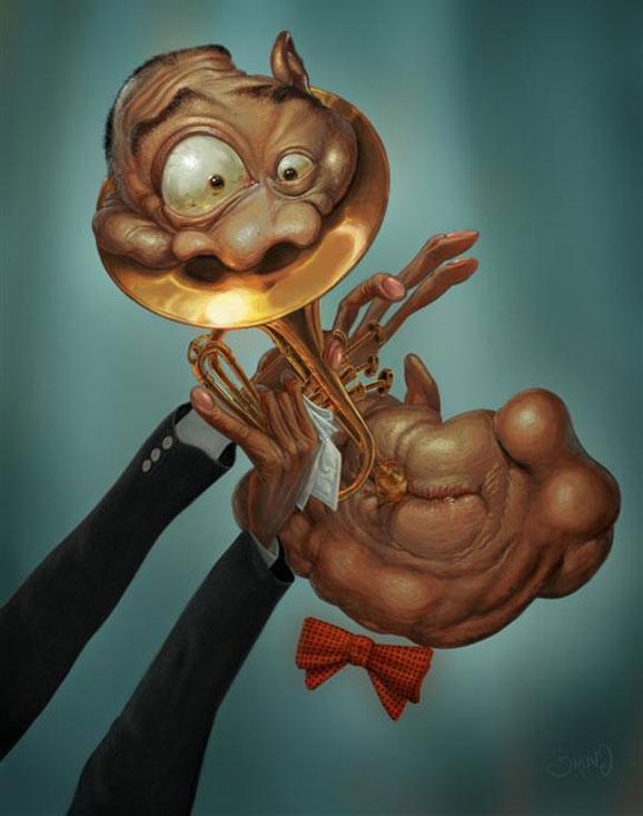 Caricatura de Louis Armstrong criada por Bruno-Hamzagic, vencedor na categoria caricatura
