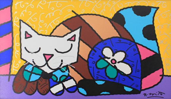 O Gatão, quadro de Romero Britto, que estará em exposição na House & Gift Fair
