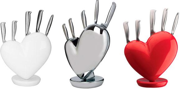 Cepos para facas no formato de coração fazem parte do catálogo da Full Fit que estará na House & Gift